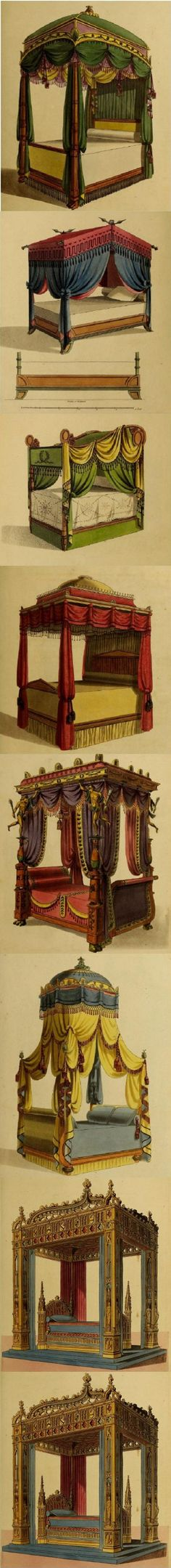 Click through to read the 1839 book these vintage bed ideas are from titled: Collection of Designs for Household Furniture and Interior Decoration.