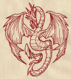 Redwork Dragon Embroidered Flour Sack