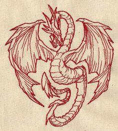 Redwork bordada dragón Flour Sack mano / toalla de plato