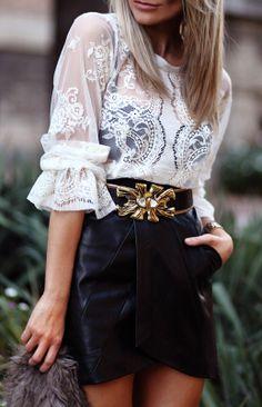 White lace top/amazing belt/black leather skirt
