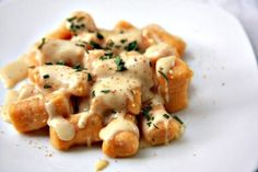 Sweet potato gnocci with gouda cheese sauce