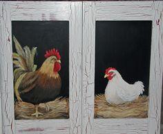 rooster, hen