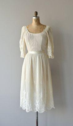 Parchment Lace dress vintage 1970s dress filet by DearGolden