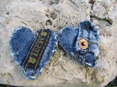 denim earrings heart jean, denim recycled, denim earring, dangl earring, upcycled earrings, brand denim, dangle earrings, jean recycl, denim heart