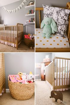 feminin nurseri, polka dots, toy, gray peach nursery, crib, peach gold gray nursery, basket, shelv