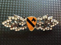 1st Cavalry Division Crest on Silver and Crystal Brooch Pin, in stock, Ready to ship - Army Hand crafted by Lauren Hope Frosted Hope Patriotic Jewelry
