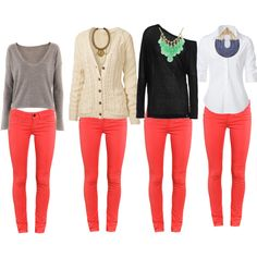 What to wear with coral pants. Thanks goodness, I need to go beyond a black shirt