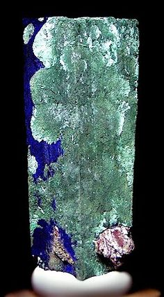 Extremely rare - crystal of Azurite with partial ps. to chatoyant Malachite / Tsumeb, Namibia