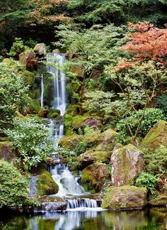 Portland Oregon japanese gardens. Said to be one of the most authentic japanese garden's outside of Japan. The terrain and water features symbolize both peace and strength.