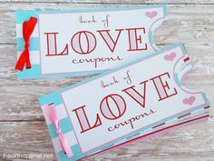 Free Printable Love Coupon Book   I Heart Nap Time - So cute and the colors of each coupon are fun!!