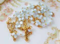 Vintage Pale Blue Moonstone Bead Italian Rosary Gold Tone Stations and Crucifix by Alyssabeths