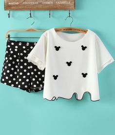 White Mickey Embellished Top With Black Polka Dot Skirt