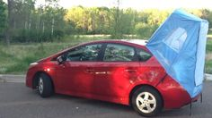 Go car camping in a Prius! Habitents doesn't use any poles and is able to roll up small enough to store in your glove compartment! $90 #prius #camping #outdoors #travel #camp #parks