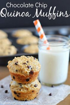 Chocolate Chip Quinoa Muffins | moist and rich healthy muffins filled with quinoa and little chocolate chips nestled inside!