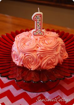 Rose cake for baby girl's first birthday...it was SO EASY!!