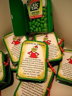 Grinch Pills using green tic tacs – how stinkin' cute for little Christmas gifts?!? Free printable!!