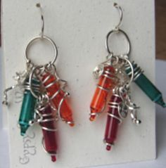 Handcrafted upcycled, recycled, green jewelry, Christmas light bulb earings