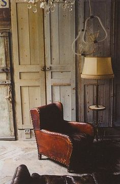 worn leather chair,