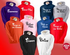Disney wedding themed Hoodies for your wedding, party or your reception. Available for everyone in the wedding party on Etsy, $29.99