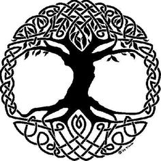 Celtic Tree - Symbol Of Life  Clear Celtic patterns plus the Tree in Celtic culture was always draw with roots.