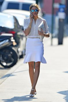 POLKA DOT WHITE BLOUSE WITH CUTE WHITE SKIRT FROM: Olivia Palermo