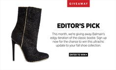 Enter this month's #ShopBAZAAR Editor's Pick Giveaway to win this chic Balmain bootie! BAZAAR.com/balmain