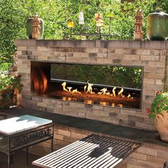 "Empire Comfort Systems White Mountain Hearth By Empire Carol Rose 60"" Vent Free Natural Gas Outdoor Linear See-Through Fireplace"