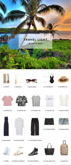 1. Lipstick / 2. Pineapple Necklace / 3. Sunglasses / 4. White Bikini / 5. Black One-Piece / 6. Brimmed Hat / 7. Striped Top / 8. Printed Tee / 9. Neutral Tee / 10. Mahalo Tee / 11. White V-Neck / 12.