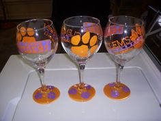hand paint, paint wine, blue, wine glass, tiger hand, clemson tigers