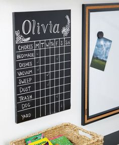 Make household duties a little more glamorous with a DIY chalkboard chore chart.