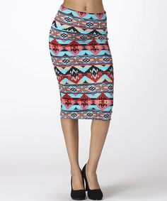Another great find on #zulily! Jade & Coral Tribal Pencil Skirt by BOLD & BEAUTIFUL #zulilyfinds tribal pencil, pencil skirts