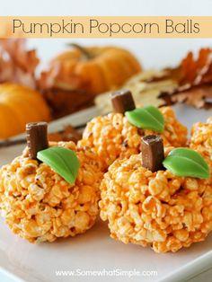 Pumpkin Popcorn Balls- easy treat for fall.