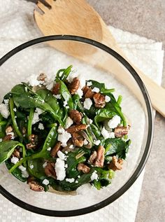 Wilted spinach salad with goat cheese and pecans... spinach doesn't have to be boring!