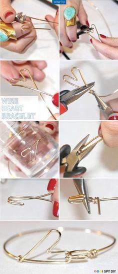 DIY: Heart Bracelet DIY Jewelry DIY Bracelet, Great idea and picture tutorial. Now just add beads! eCrafty.com DIY Jewelry, Wire Jewelry