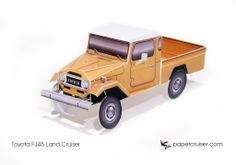 Simple Toyota FJ45 Land Cruiser paper model | http://papercruiser.com/downloads/fj45-land-cruiser-pickup-simple/