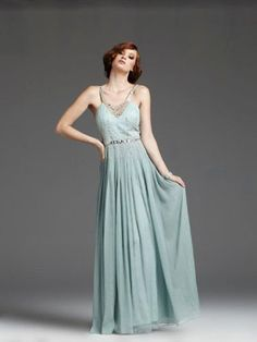 '30s-Style Dusty Blue, Dress with Beaded Bodice