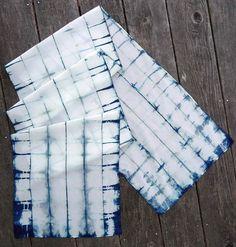 Indigo-tinged silk crepe de chine shibori scarf. $40.00, via Etsy.
