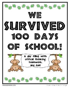 I like this idea of a survivor themed 100 days celebration.  Goes well with our jungle theme and focus on teamwork.