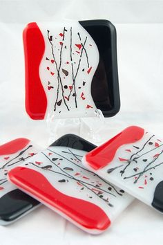 Red black confetti fused glass coasters