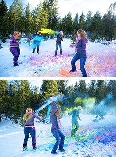 Bachelorette party powder paint fight! LOVE- Since we cant do the color run.. sorry guys :( hahah