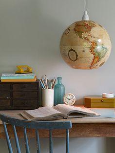 Vintage globe hanging light