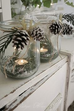 centerpiece ideas - great idea for mantel... holiday, craft, jar candles, candle holders, christmas candles, pine, mason jars, candle jars, tea lights