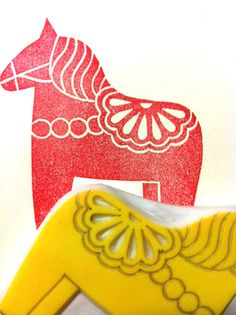 dala horse stamp hand carved rubber stamp by talktothesun