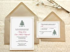 Evergreen Christmas Wedding Invitations by merrymint on Etsy, $20.00