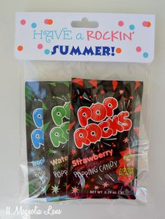 "Don't all kids love Pop Rocks? Inexpensive end-of-school-year gift idea for classmates and friends-- ""Have a Rockin' Summer"" goody bags with Pop Rocks.  Free printable bag topper / label included."