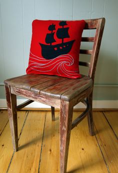 Red Wool Pillow with Ship Aplique and Hand by LilleputtStudio, $56.00