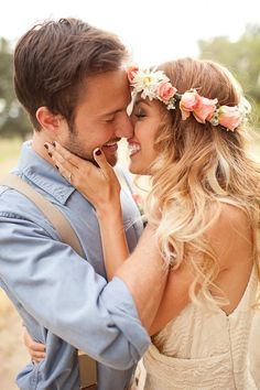 flower crowns, boho engagement photos, bridegroom, wedding photos, color nails, groom attire, outdoor weddings, groom poses, bride groom