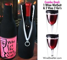 FLASH SALE! Grab a Midnight Black Combo Pac - 1 #Wine WetSuit & 2 Vino 2 Go Tumblers! Only $26.99 - SAVE $13!