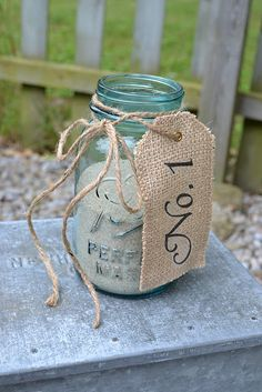 Mason jars and burlap