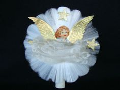 Vintage Christmas Ornament ~ National Tinsel Co. Spun Glass Angel Tree Topper. Circa, 1930s ----I have one of these. It was my Gramma's.